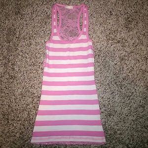 CUTE PINK AND WHITE TANK WITH LACY BACK